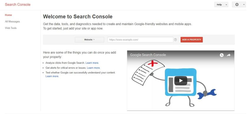 Welcome page for Google Webmasters Search Console